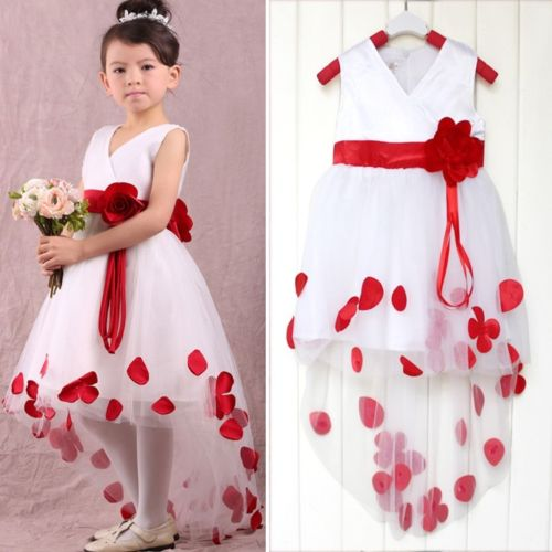 Red 2019   Flower     Girl     Dresses   For Weddings Ball Gown Short Front Long Back Tulle Long First Communion   Dresses   For Little   Girls