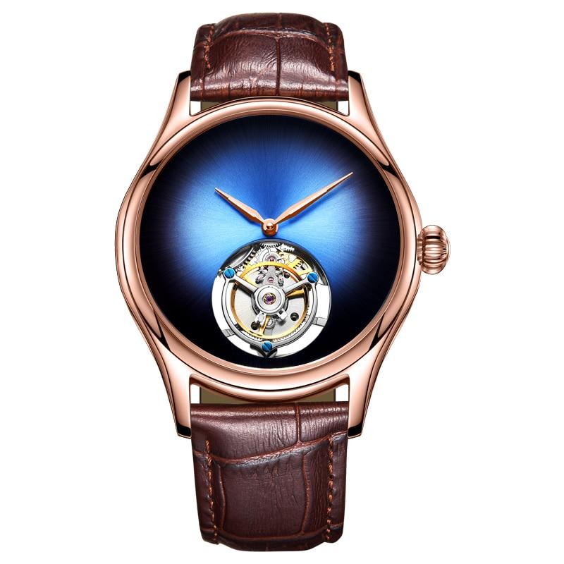 Top marca de lujo Mens reloj mecánico espejo de cristal de zafiro Original Tourbillon movimiento hueco reloj mecánico de los hombres 2018