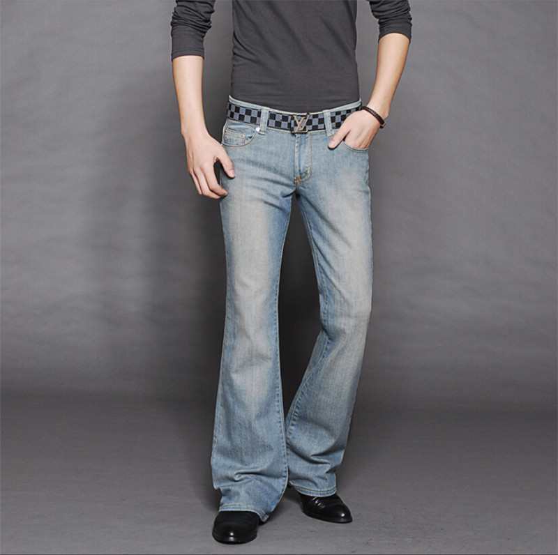 High Quality New arrival 2014 mens bell bottom jeans male elastic slim denim boot cut tr ...