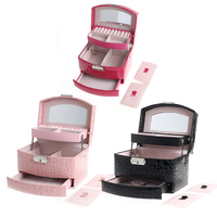 Jewelry Leather Mirror Box Storage Organizer Case Ring Earrings Necklace Display