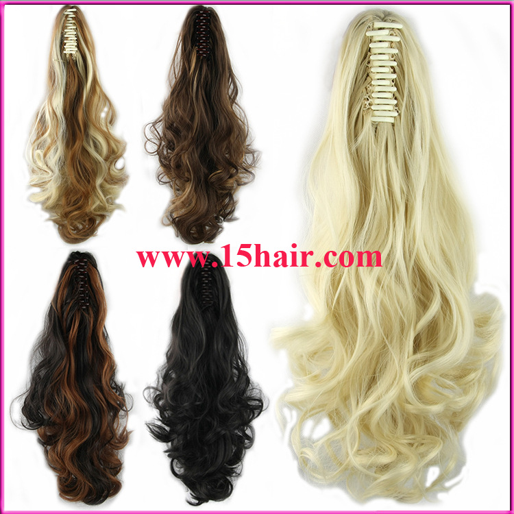 Blonde Mixture Elastic Claw Clip Ponytail Extension High Temperature
