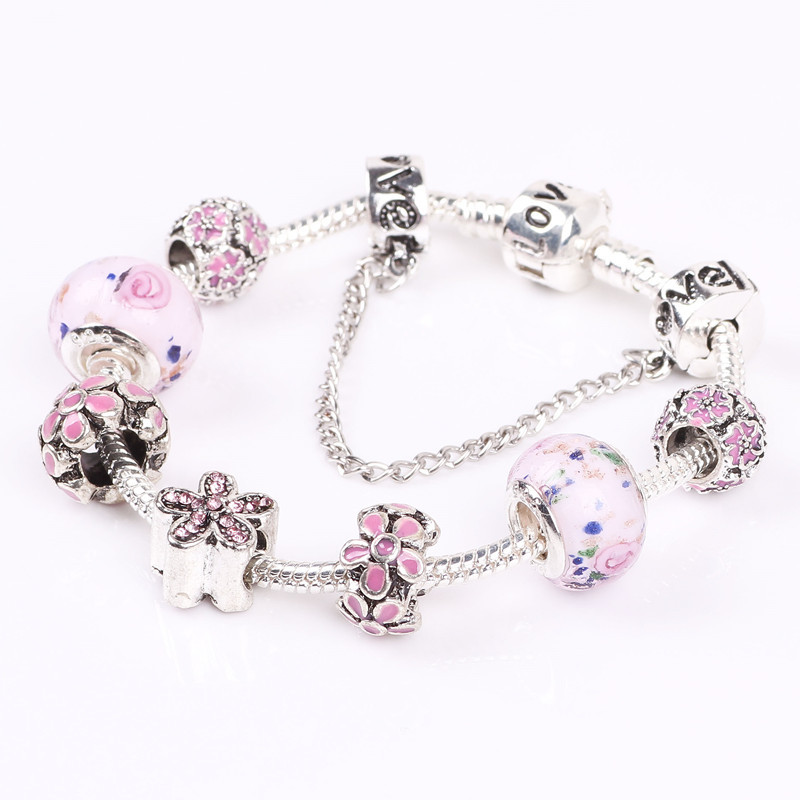 New European Exquisite Charms Beads Fit Women DIY Flowers Bracelets & Bangles Big Hole Bracelets DIY Fine Jewelry