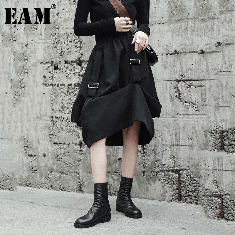 [EAM] 2019 новая весенняя высокая эластичная талия черная Пряжка свободная нерегулярная стежка полуюбка Женская мода JH420