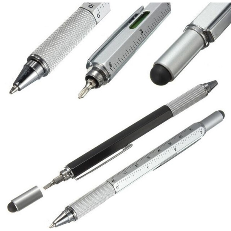 1 pçs 7 cor romance multifuncional chave de fenda esferográfica caneta tela toque metal presente ferramenta escritório escola supplie papelaria canetas
