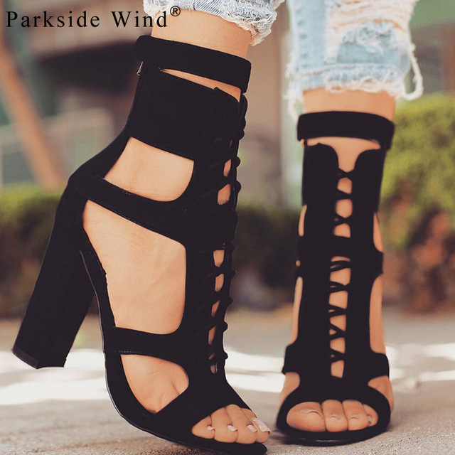 0de44db24c9 US $21.67 50% OFF|Parkside Wind Flock Women Sandals Gladiator High Heels  Strap Pumps Lace up Female Shoes Fashion Summer Ladies Shoes XWC1020 5-in  ...