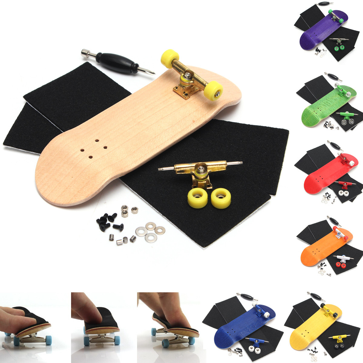 Basic Wooden Fingerboard Professional Finger SkateBoard Wood Fingerboars With Bearings Wheel Foam Tape Set 7 Colours