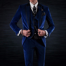 Royal Blue Velvet Groom Tuxedos for Wedding Men Wear 3 Piece Jacket Pants Vest Black Peaked Lapel Party Man Suits
