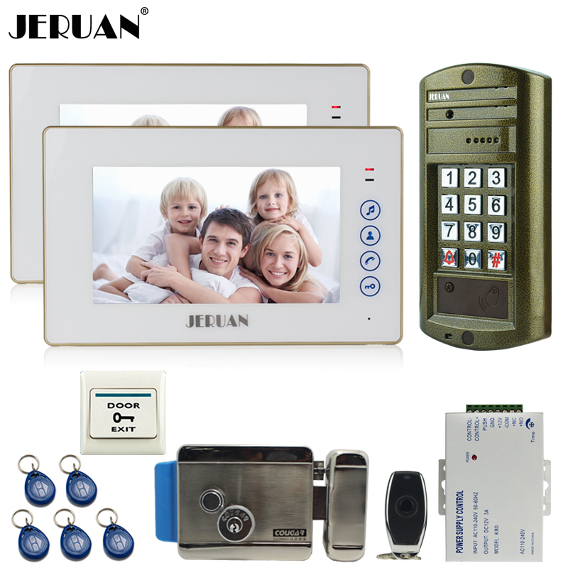 JERUAN NEW 7 inch Video Intercom DoorPhone System kit 2 Monitor + Metal panel Waterproof Access Password keypad HD Mini Camera jeruan wired 8 video doorphone record intercom system kit 2 monitor new rfid waterproof touch key password keypad camera 8g sd