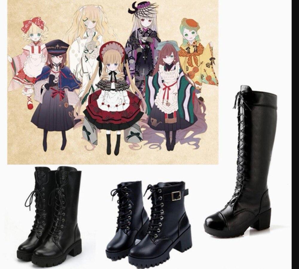 Costume de Cosplay jeune fille zen date en direct majordome noir Punk Lolita uniforme scolaire filles chaussures Punk Sport princesse bottes à talons hauts