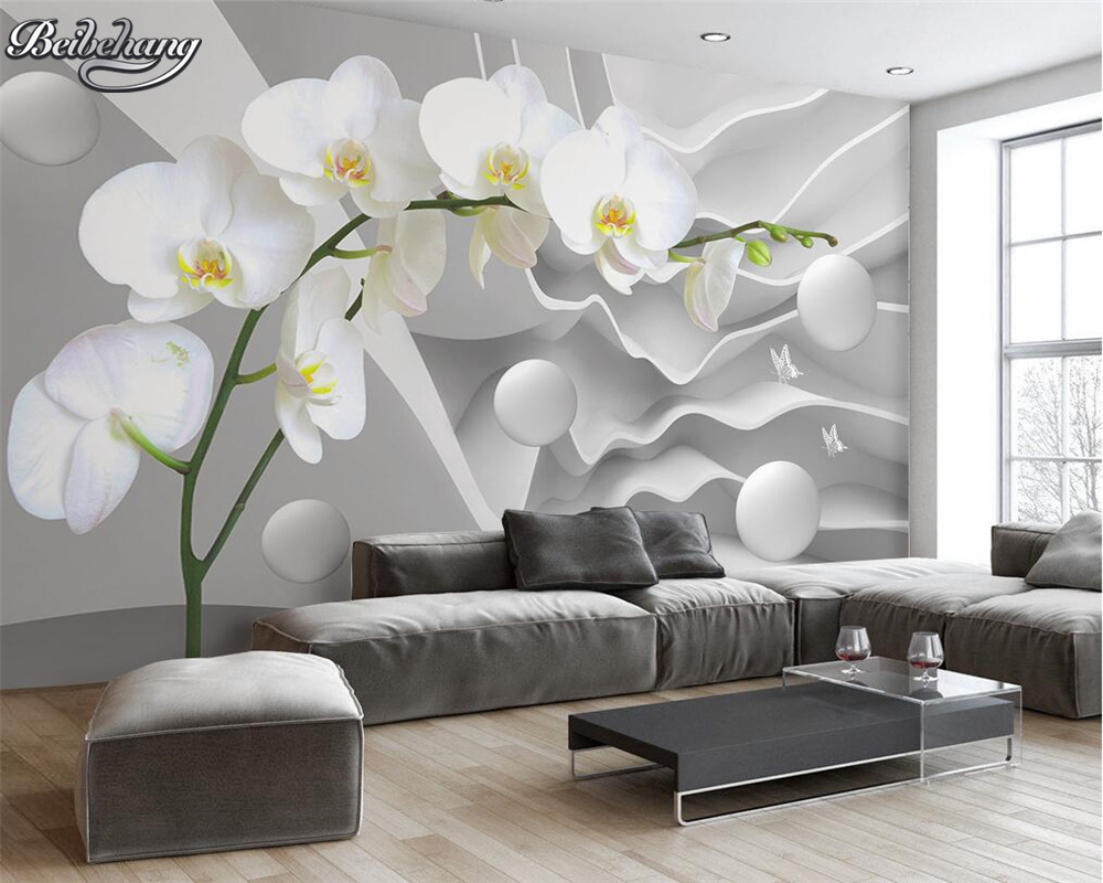 Beibehang Custom Large Space Butterfly Orchid Ball Photo