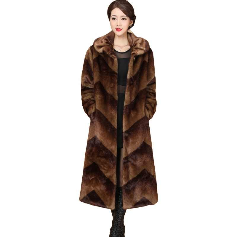 Plus Size Mink Fur Jacket Women Winter Luxury Coat 2019 Fashion Thicken Fur Coats Loose Female Warm High-end Fur Jackets Parka