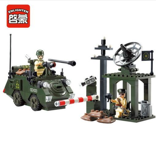 Enlighten Models Building toy Compatible with Lego E808 187pcs Army Car Blocks Toys Hobbies For Boys Girls Model Building Kits