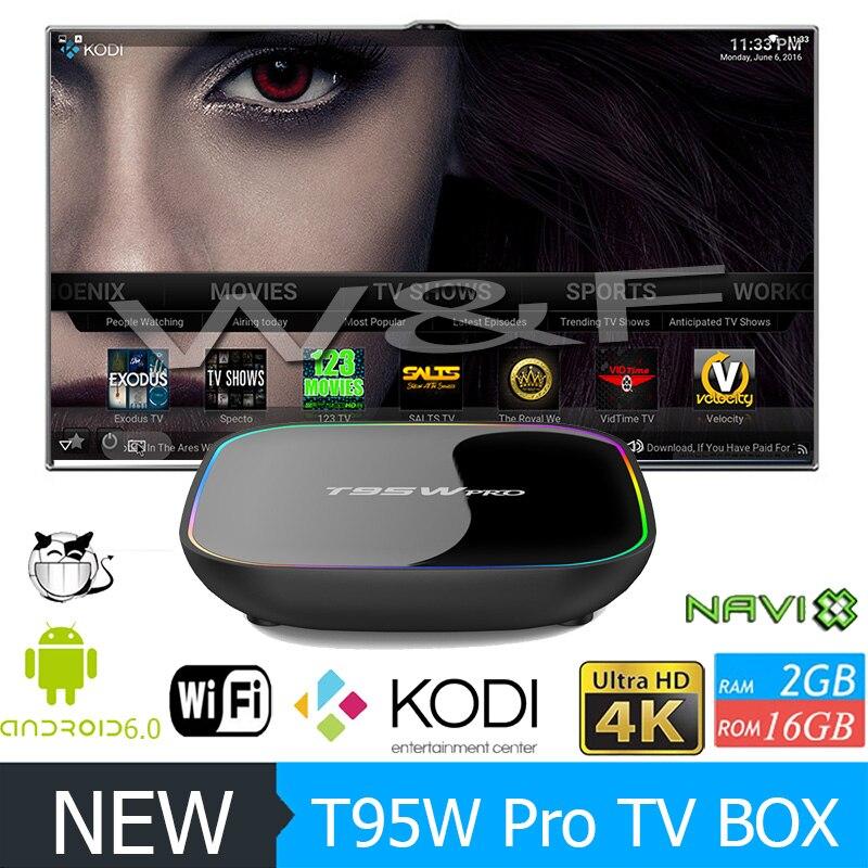 T95W PRO Smart tv box Android 6.0 Amlogic S912 Octa core IPTV top box 2GB 16GB 4k kodi set top box HDMI wifi BT Media Player zidoo x6 pro mini pc android 5 1 tv box rk3368 octa core 2gb 16gb gigabit ethernet hdmi 4k kodi 16 0 aluminium eurpean iptv box
