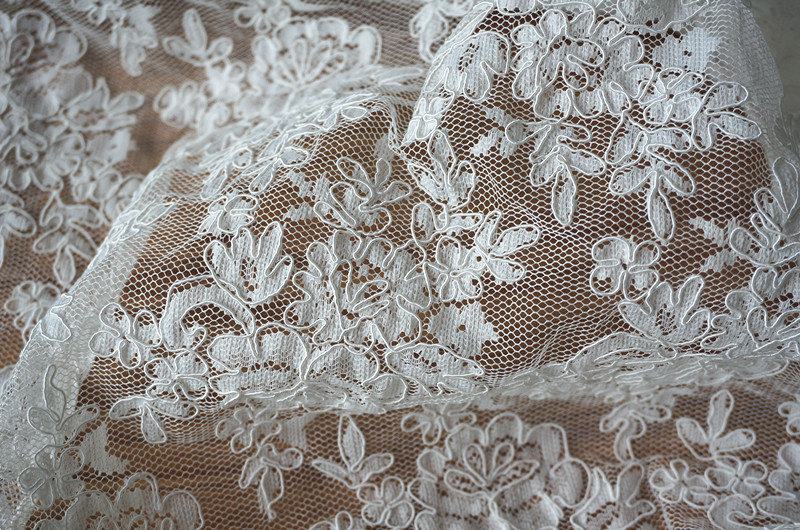Buy white alencon lace fabric bridal for White lace fabric for wedding dresses