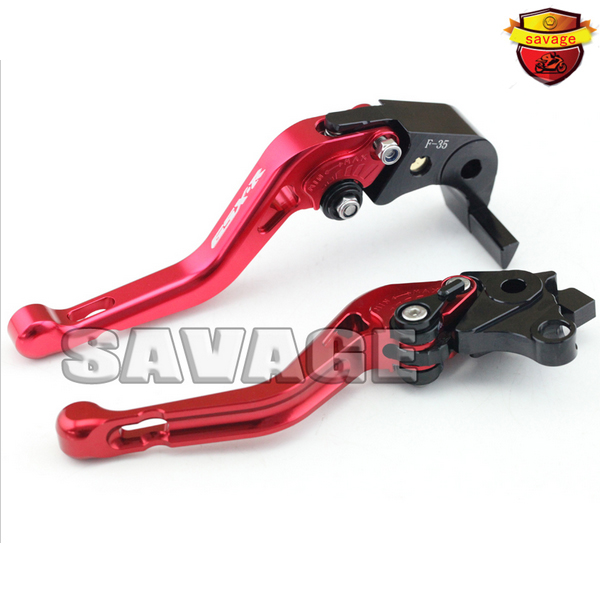 ФОТО For SUZUKI GSX-R 1000 2007-2008 Red Motorcycle CNC Billet Aluminum Short Brake Clutch Levers - logo GSX-R