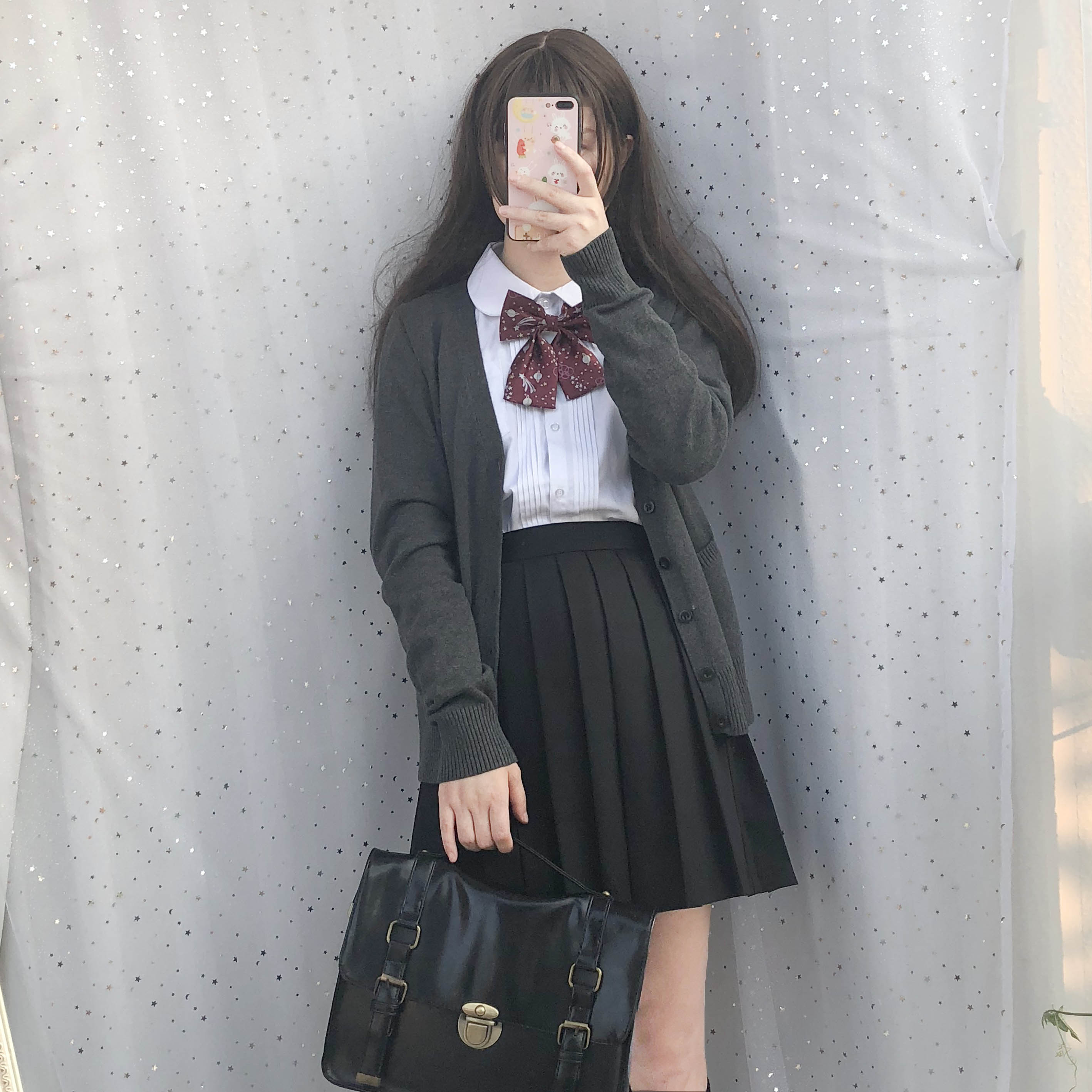 Japanese girl jk uniform long sleeved autumn and winter round neck shirt black pleated skirt knit