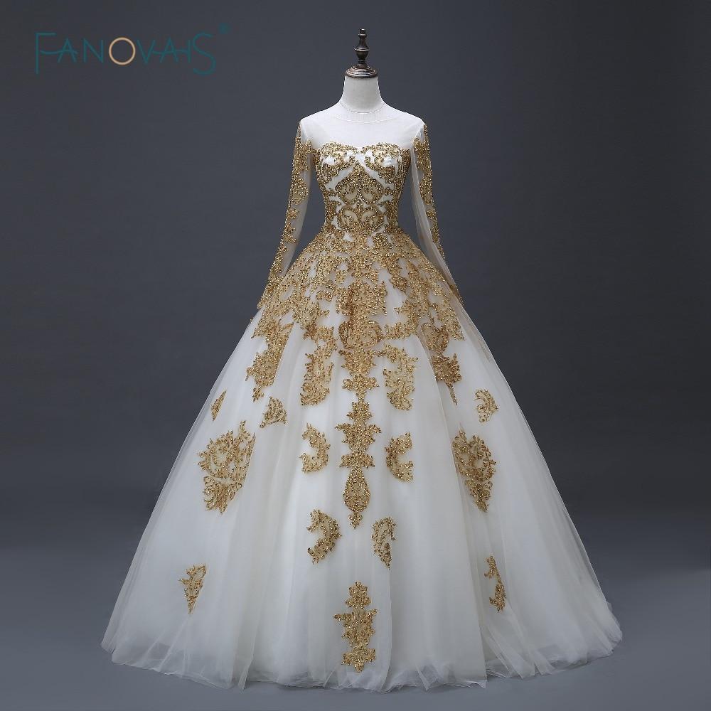 2019 Vintage Lace Wedding Dresses Long Sleeve Ball Gown Muslim Islamic Bridal Gown Gold Applique Beaded Vestido De Noiva ASWD127