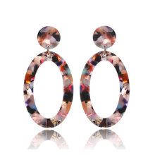 Fashion Jewelry Acrylic Resin Oval Dangle Earrings For Women Geometry Big Circle Tortoiseshell Earrings Acetate Brincos SP-71(China)