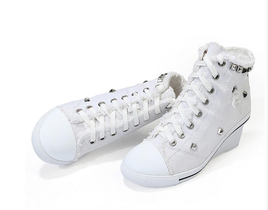 Bombas De Caliente Azul Tacones Gratis Denim Jean Cuñas Blanco Moda Zapatos Encaje Botines Envío Vaquero Altos Wq0Fq4UzH