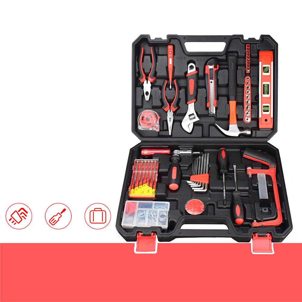 Набор ручных инструментов NEWACALOX 110 шт., торцевой ключ, цифровой тестовый карандаш с пластиковым ящиком для инструментов, чехол для хранения, домашний ремонт, набор ручных инструментов