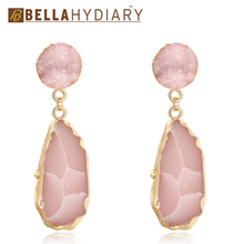 цена на Bijoux Pink Chic Druzy Stone Resin Earrings Long Drop Earrings For Women Jewelry Statement Gifts For Women Accessories Brinco