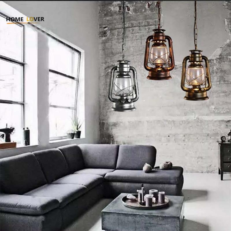 купить Vintage pendant lights kerosene lamp Abajur Suspension Luminaire Loft Retro E27 Lamp Lamparas Colgantes Industrial Home Lighting по цене 3620.19 рублей