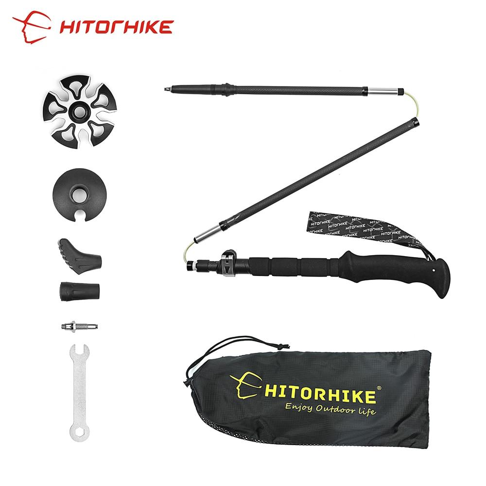 Hitorhike 1pair 5 section Carbon Fiber Walking Stick Ultralight Collapsible Adjustable Trekking Pole 36 135cm 205g