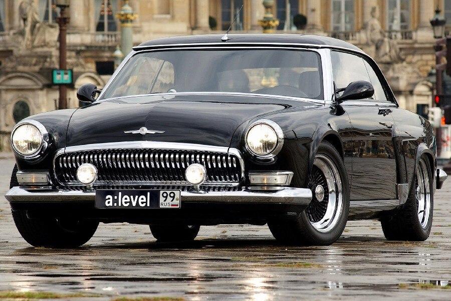 volga v12 black front view classic car poster 12\
