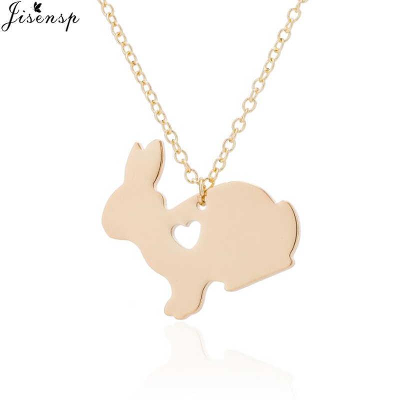 Jisensp adorável animal coelho charme colar coelho pingentes colares para mulheres animal jóias colar presentes de festa bijoux