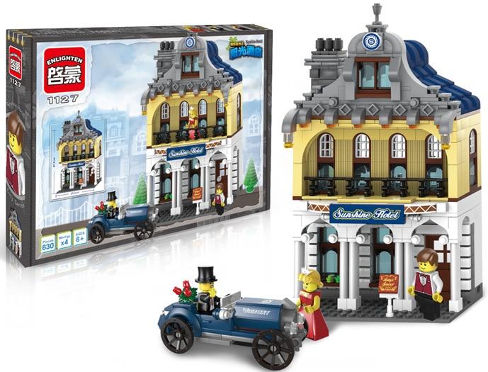 building block set compatible with lego city Sunshine Hotel 3D Construction Brick Educational Hobbies Toys for Kids hotel city inn prague 3 прага