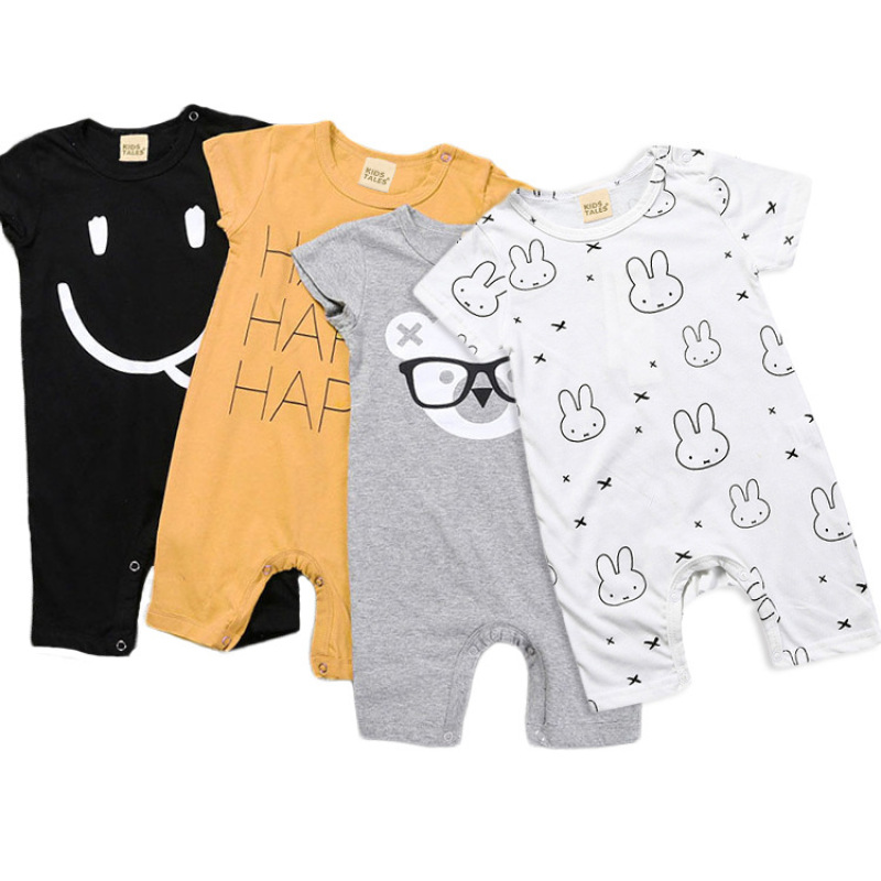 For Summer Baby Cotton   Rompers   Baby Boy Girls Short Sleeve Cartoon Toddler Baby Boys Cartoon Bear Smile Cute Letter Clothes