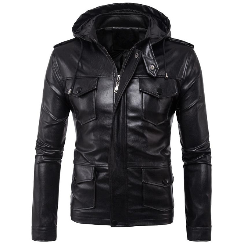 2017 TUOLUNIU new listing men leather jacket motorcycle solid color men jacket leather jacket Hooded coat