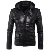 new listing men leather jacket motorcycle solid color men jacket leather jacket Hooded coat