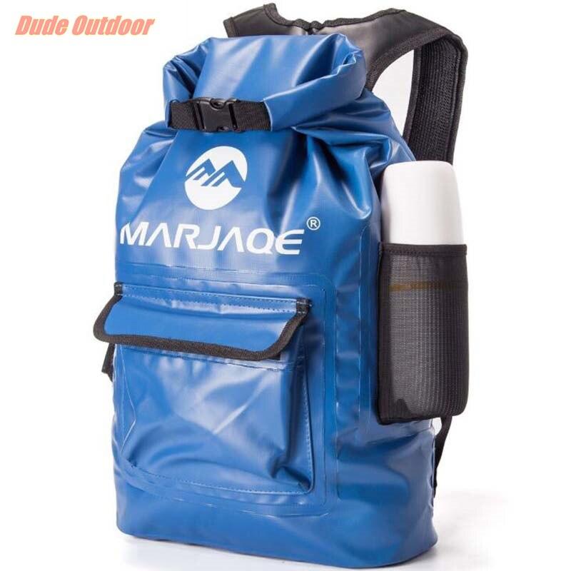 Sac de rangement à sec sac de randonnée pliable en plein air sac de qualité PVC étanche sac à dos sec 20L pour homme femmes natation Rafting Kayak