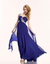 Attraktive A-Line Bodenlangen Schulter Abendkleid Lange Chiffon Abend Formales Kleid Schatz Backless Sleeveless F730