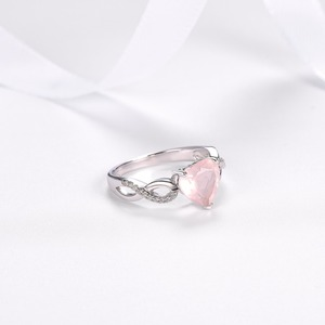 Image 3 - Hutang Womens Ring Natural Rose Quartz Solid 925 Sterling Silver Heart Rings Fine Pink Gemstone Elegant Jewelry Infinite Love