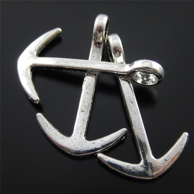 Boat Anchors For Sale >> 40pcs Wholesale Anchors Punk Man Fashion Beautiful Antique Silver