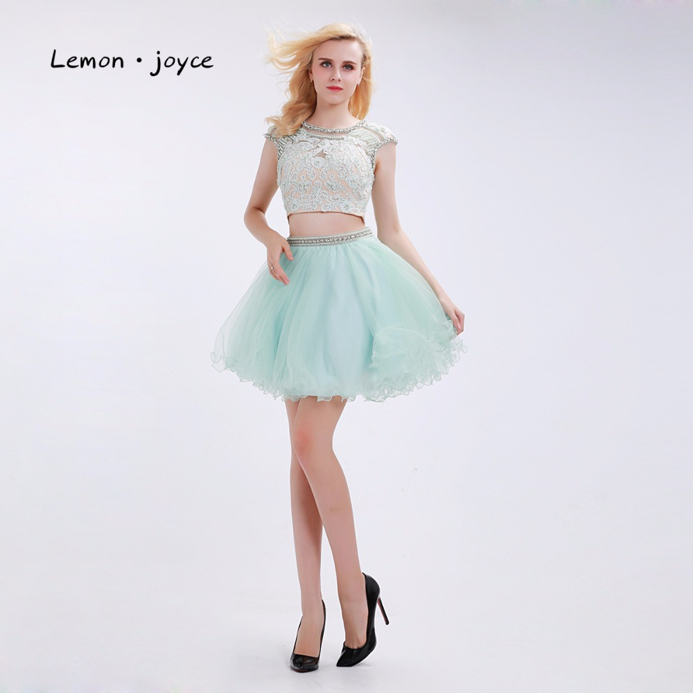 Mint Green Short Homecoming O neck Cap Sleeves Beading Lace Two ...