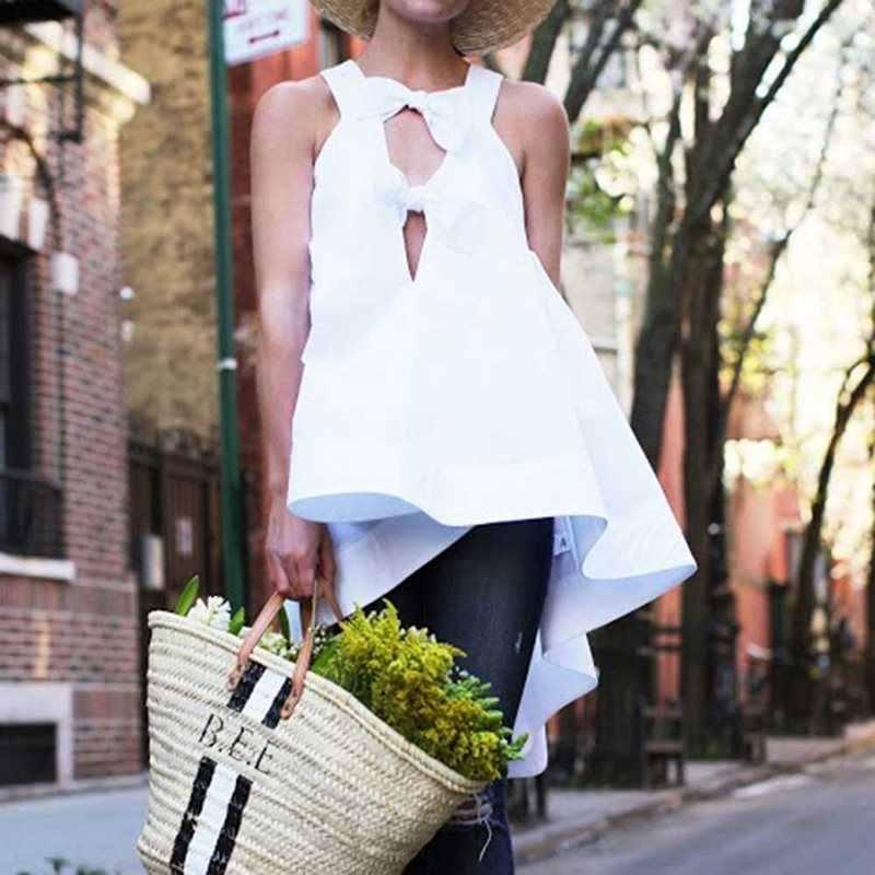 Verano talla grande blanco Simple Sexy Club Boho mujeres Tank Tops Casual suelto liso asimétrico Bowknot moda femenina Top 2019