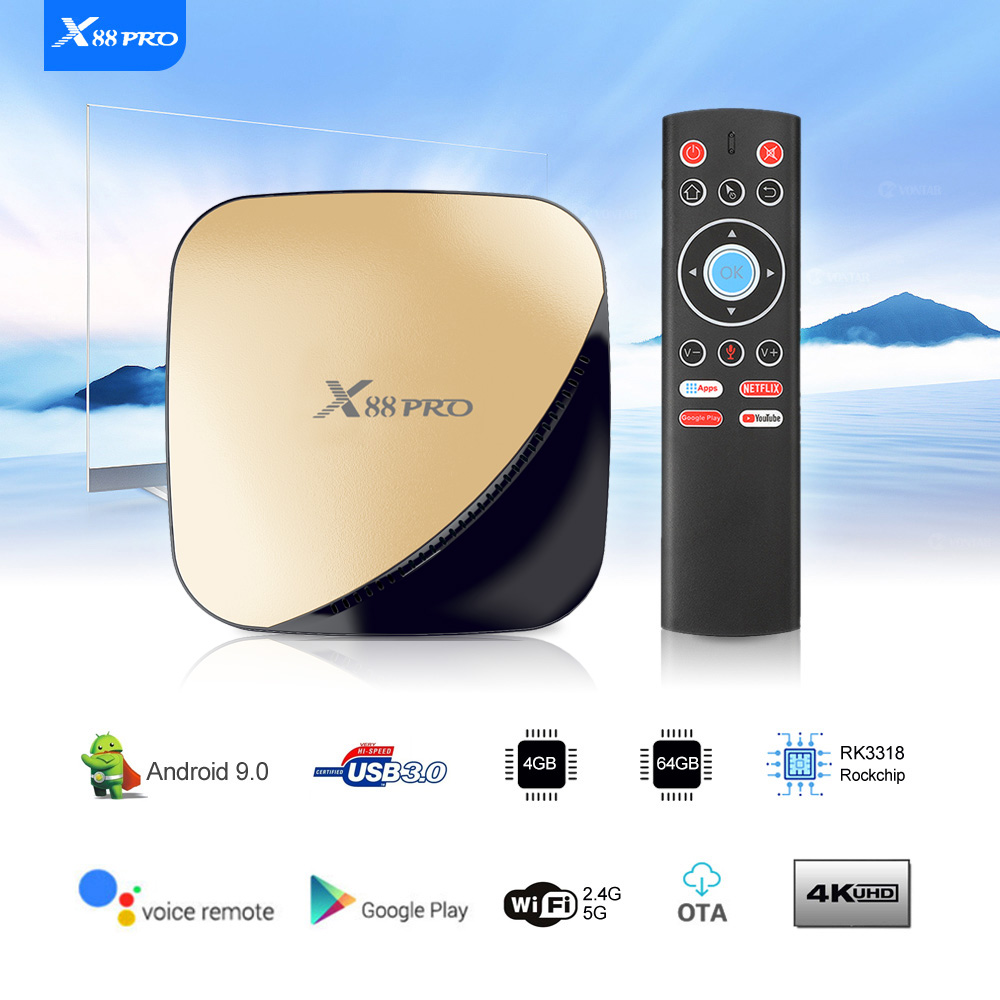 Original X88 Pro X88pro Android 9 0 TV Box Smart TV Box RK3318 2 4/5G Dual  Wifi 4K HDR USB3 0 Google Play Store Netflix Youtube