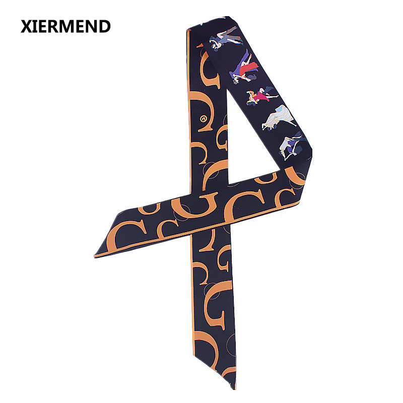 2018 New Autumn Winter Letter Party Print Narrow Long Scarf Simulation Silk Scarf Tied Bag Handle Ribbon Head Skinny Scarves