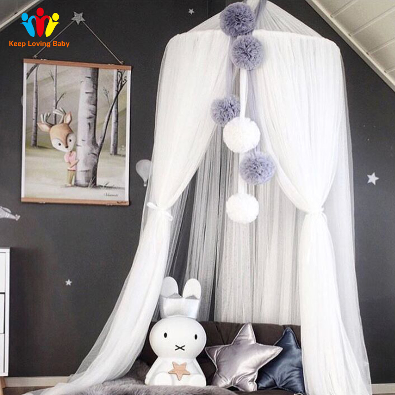 Cotton Round Baby Bed Mosquito Net Children Room Decoration Crib Netting Baby Crib Netting Tent Photography Props 240cm