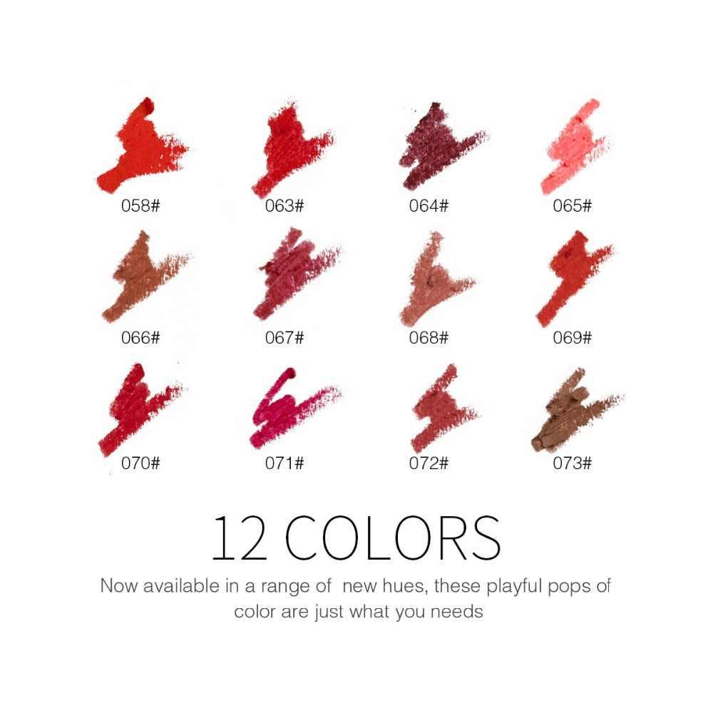 12 видов цветов/набор, увлажняющий карандаш для губ, водостойкий, долговечный, легко окрашивается, ручки для губ, Гладкий макияж, косметические инструменты, наборы