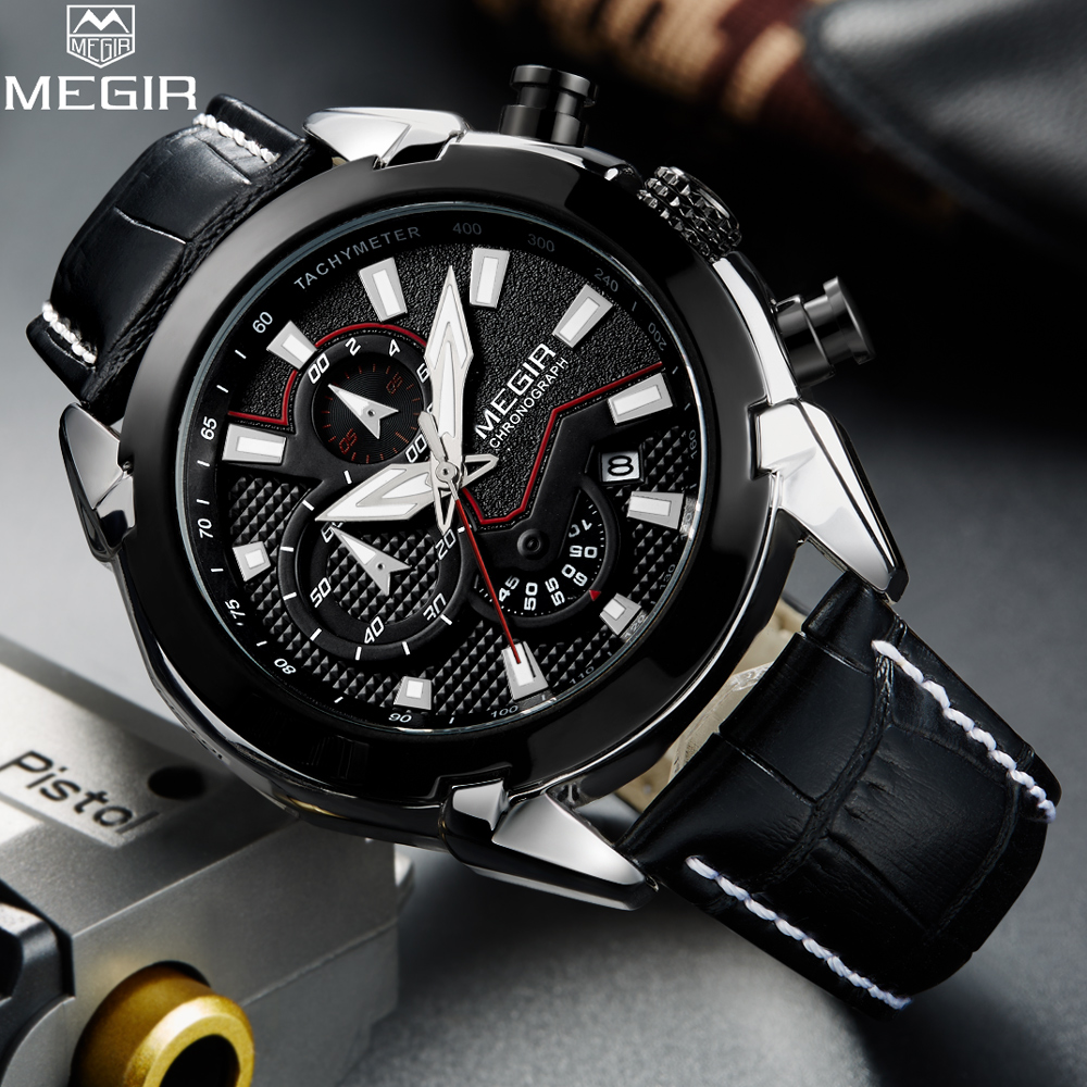 MEGIR Man Quartz Watches Top Luxury Brand Mens Fashion Sport Watch Men Casual Business Chronograph Clock Relogio Masculino reloj hombre bosck brand men s watches men fashion casual sport quartz watch mens business wrist watches man clock montre homme