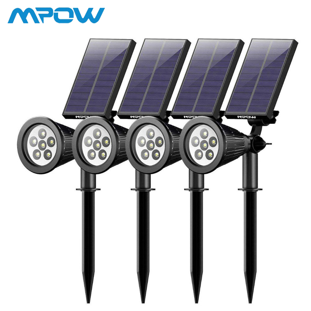 4 Pack MPOW 6 LED Solar Light Garden Rechargeable Landscape Spotlight 180 Angle Adjustable Solar Panel