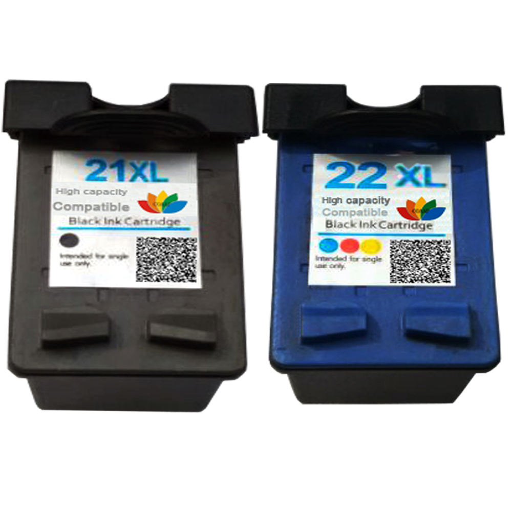 2 Compatible inks for HP21 HP22 Refilled ink <font><b>cartridge</b></font> for <font><b>HP</b></font> <font><b>21</b></font> <font><b>22</b></font> XL Deskjet D1360 D1460 D2360 D2460 3920 3940 F370 Printer image