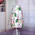 Nuevo Diseño de La Flor Impresa Satén Tutú Elegante Midi Plisado Pinup Rockabilly Vintage Retro Primavera Verano Ocasional del vestido de Bola Faldas