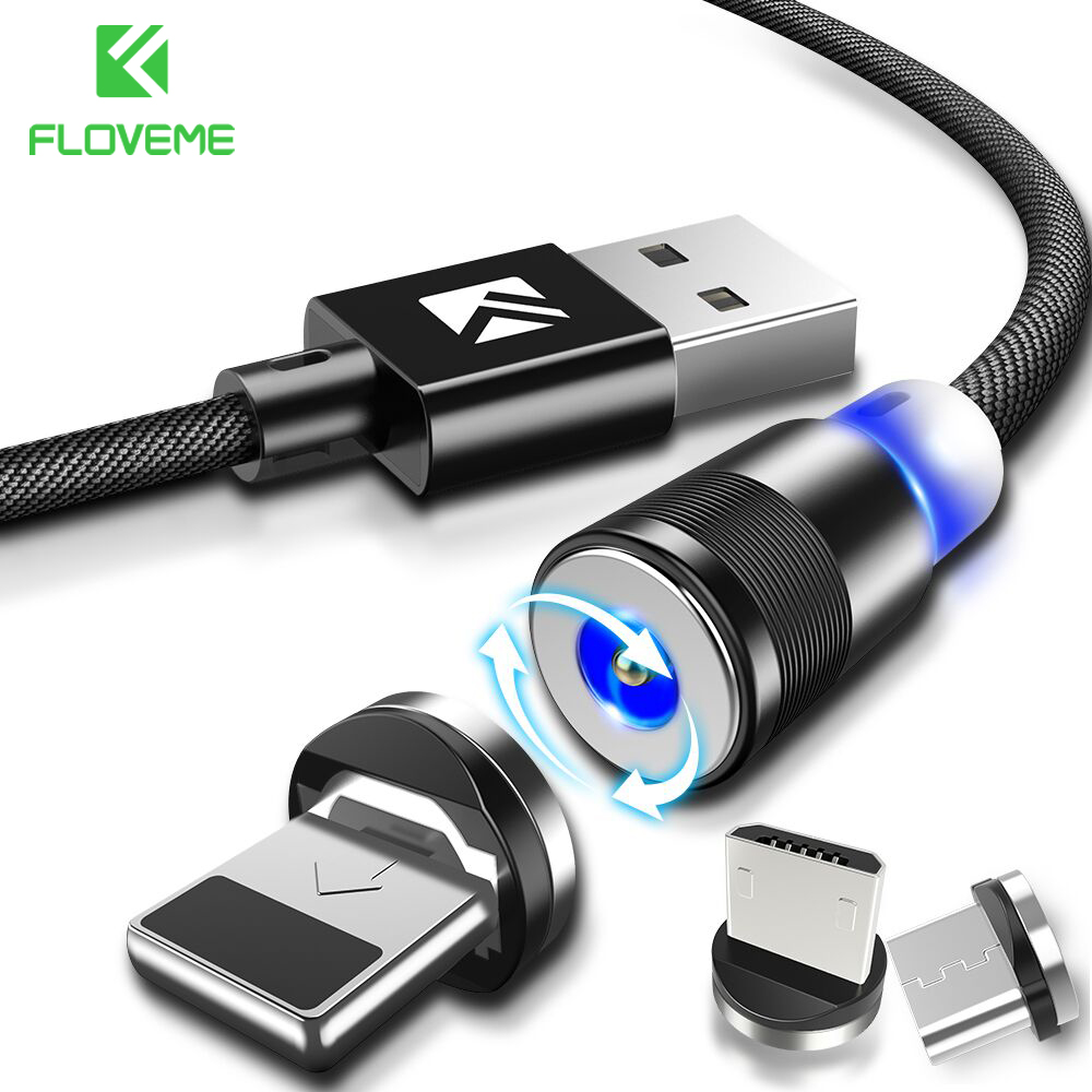 FLOVEME New LED Magnetic Cable For iPhone Micro USB Cable Type-C Magnet Charger 1M Nylon Cabo For Samsung Xiaomi Huawei USB-C executive car