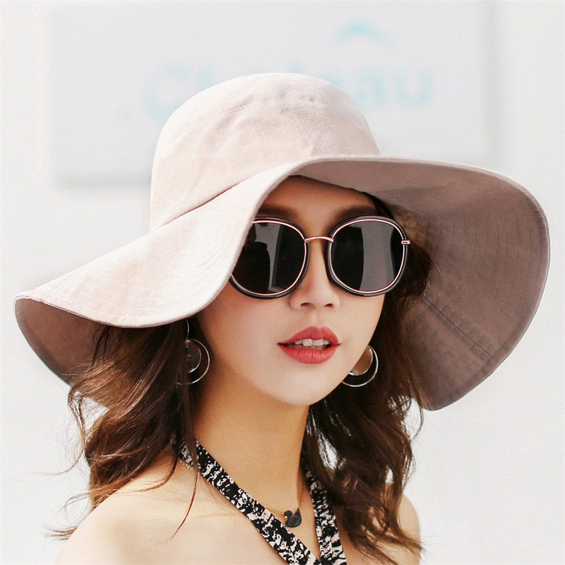 4d7e956b5 Ditpossible new solid wide brim bucket hats women casual panama caps floppy  foldable fishing cap