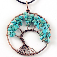 Kraft-beads Ethnic Copper Wire Wrap Tree of Life Pendant Rope Chain Necklace Green Turquoises Stone Jewelry